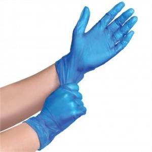 Vinyl handschoenen Blauw, Licht gepoederd